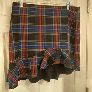 Zara ruffled asymmetrical hem plaid skirt